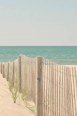 Beach Fence Ocean Shabby Photograph Print by Elle Moss