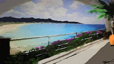 Beach Front View Print by Anthony Fishburne