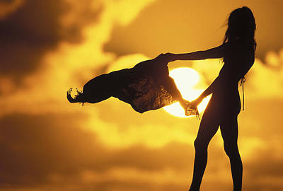 Silhouette Photograph - Beach Girl by Sean Davey