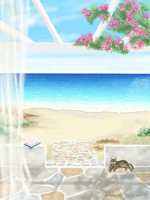 Seascape Digital Painting - Beach House by Veronica Minozzi