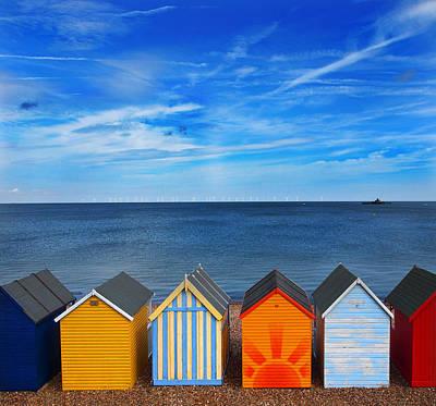 Beach Huts Print by Mark Rogan