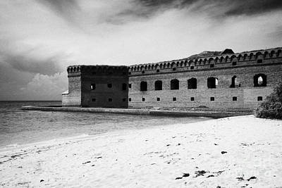 Beach In Front Of Fort Jefferson Brick Walls With Moat Dry Tortugas National Park Florida Keys Usa Print by Joe Fox