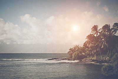Tree Photograph - Beach In Hawaii With Retro Instagram Style Filter by Brandon Bourdages