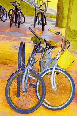 Beach Parking For Bikes Print by Ben and Raisa Gertsberg