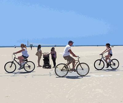 Venice Beach Digital Art - Beach Riders by Nancy Merkle