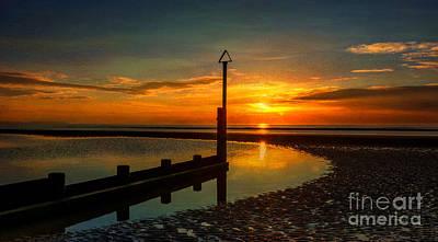 Evening Digital Art - Beach Sunset by Adrian Evans