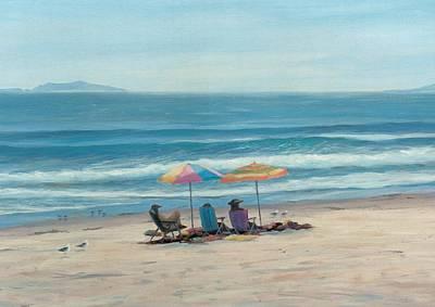 Sandpiper Drawing - Beach Umbrellas by Tina Obrien