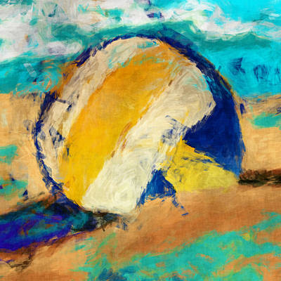 Volleyball Digital Art - Beach Volleyball by David G Paul
