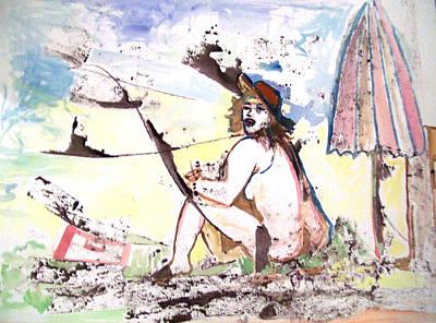 Modesto Painting - Beach Woman And Umbrella by James Christiansen
