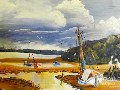 Beached Boat And Fishing Boat At Gippsland Lake Print by Pamela  Meredith