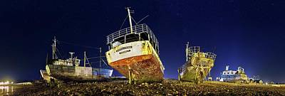 Beached Wrecks At Night Print by Laurent Laveder