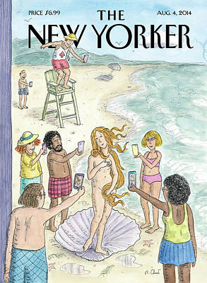 Beachgoers Take Pictures On Their Cellphones Print by Roz Chast