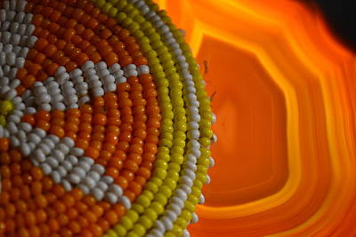 Beaded Flower And Agate Print by Chad Wasden