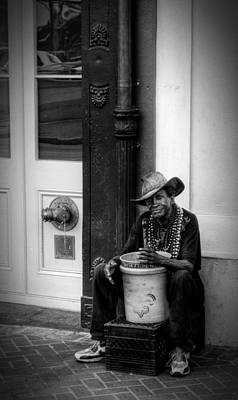 Street Performer Photograph - Beads And Bucket In New Orleans In Black And White by Greg Mimbs