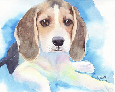 Beagle Puppies Painting - Beagle Baby by Greg and Linda Halom