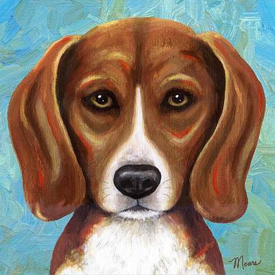 Portraits Painting - Beagle Puppy Portrait by Linda Mears