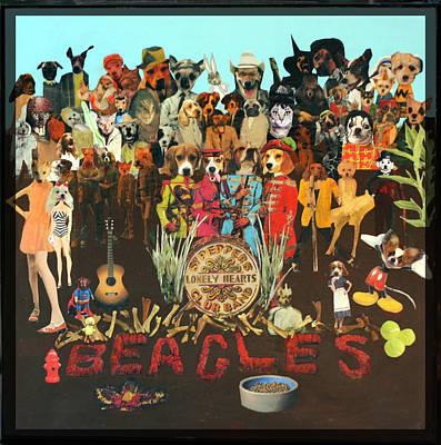 Bono Mixed Media - Beagles by Susie DeZarn