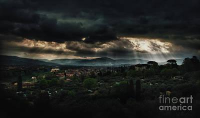 Beams Of Light Over Florence Print by Jaroslaw Blaminsky