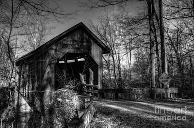 Historic Bridge Photograph - Bean Blossom Bridge Bw by Mel Steinhauer