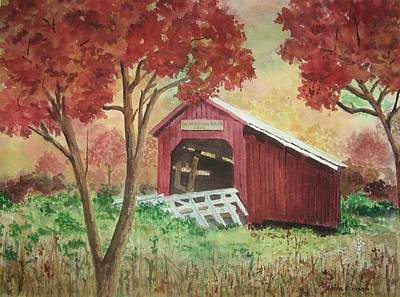 Bean Blossom Covered Bridge Print by Anita Riemen