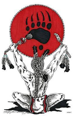 Bear Paw Drawing - Bear Clan by Louis McCollum