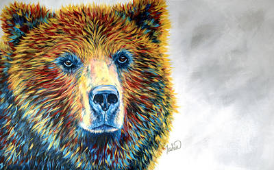 Bear Painting - Bear Daze by Teshia Art