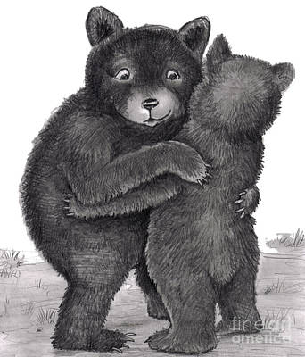 Sweet Touch Drawing - Bear Hug. Two Bears Hugging Out In Nature by Lee Serenethos