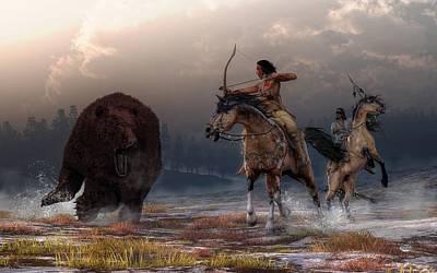 Native American Woman Digital Art - Bear Hunt by Daniel Eskridge