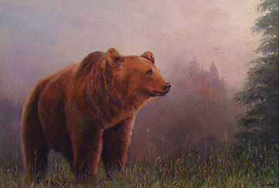 Donna Tucker Painting - Bear In The Mist by Donna Tucker