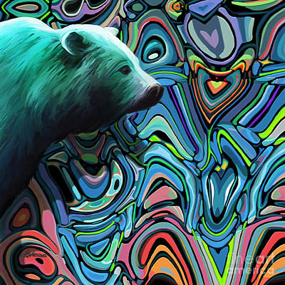 Green Abyss Painting - Bear On The Abyss by Dorinda K Skains
