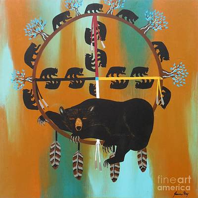 Contemporary Tribal Art Painting - Bear Totem And Medicine Wheel by Jean Fry