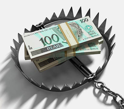 Brazilian Photograph - Bear Trap With Brazilian Real Notes by Ktsdesign