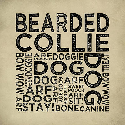 Bearded Collie Typography Print by Flo Karp