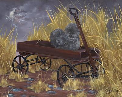 Bantam Painting - Bearded Grey Silkie Hen by Gilda Goodwin