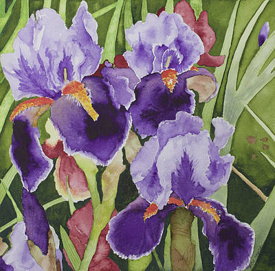 Spring Bulbs Painting - Bearded Irises by Julie Myers