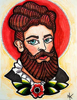 Freak Show Drawing - Bearded Lady by Nicole Kaspereen