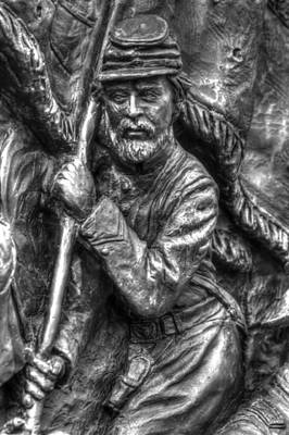 Bearing The State Colors.  State Of Delaware Monument Detail-f Gettysburg Autumn Mid-day. Print by Michael Mazaika