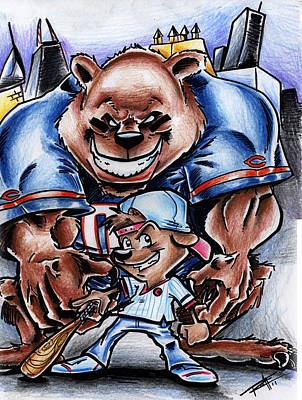 Chicago Baseball Drawing - Bears And Cubs by Big Mike Roate