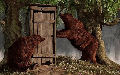 Bears Around The Outhouse Print by Daniel Eskridge