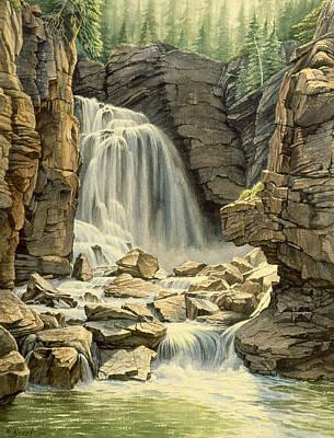 Wyoming Painting - Beartooth Falls by Paul Krapf