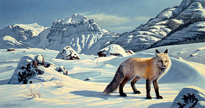 Yellowstone Painting - Beartooth Fox by Paul Krapf