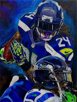 Kobe Painting - Marshawn Lynch Beast Mode by Chris Eckley