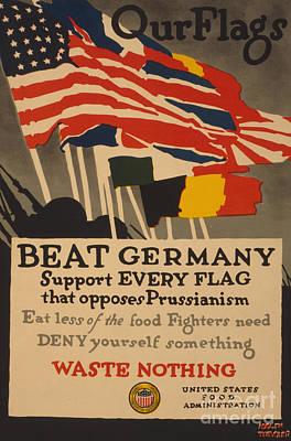 Us Propaganda Drawing - Beat Germany by Adolph Treidler