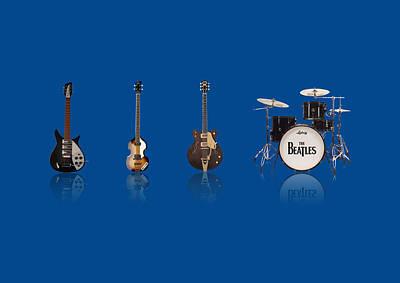 John Lennon Image Digital Art - Beat Of Beatles Blue by Six Artist