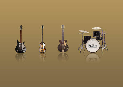 Mccartney Digital Art - Beat Of Beatles Gold by Six Artist
