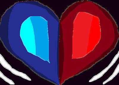 Abstract Hearts Drawing - Beating Heart by Anita Dale Livaditis