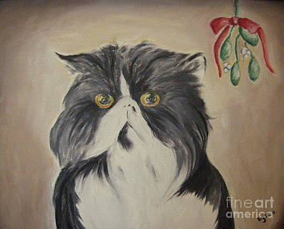 Beau With Mistletoe Print by Victoria Lakes