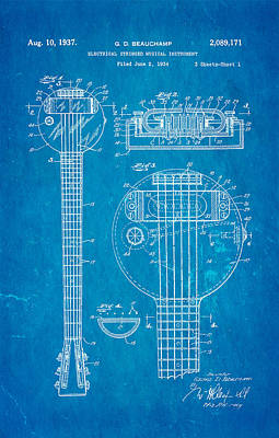 Beauchamp First Electric Guitar Patent Art 1937 Blueprint Print by Ian Monk
