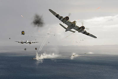 Liberation Digital Art - Beaufighters Attacking E-boats by Gary Eason