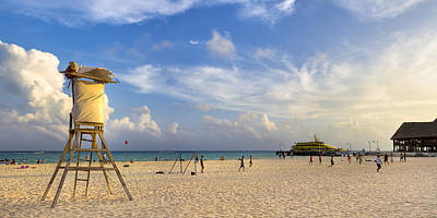 Beautiful Beach Panorama At Playa Del Carmen Print by Mark E Tisdale